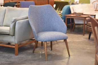 1960s occasional chair with new lead grey upholstery