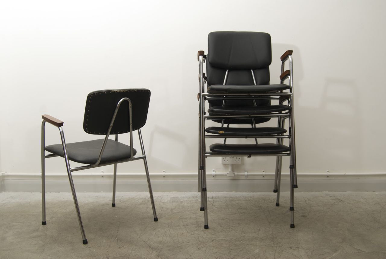 Set of five stacking leatherette and chrome school chairs