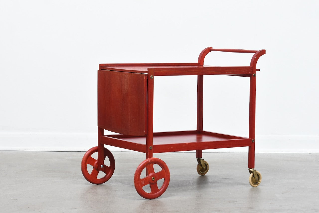 1970s stained pine drinks trolley