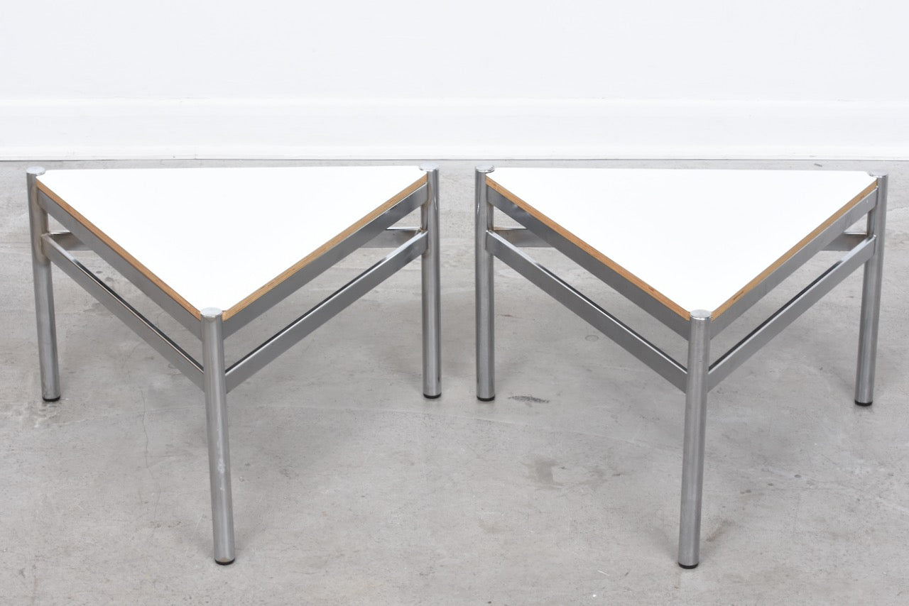 Vintage pair of triangle tables with welded frames