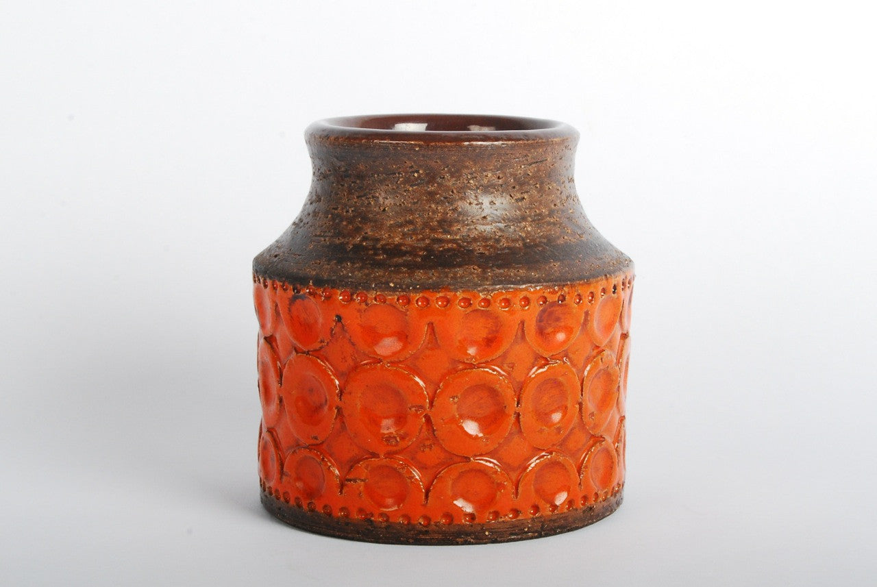 Stoneware vase with orange glaze
