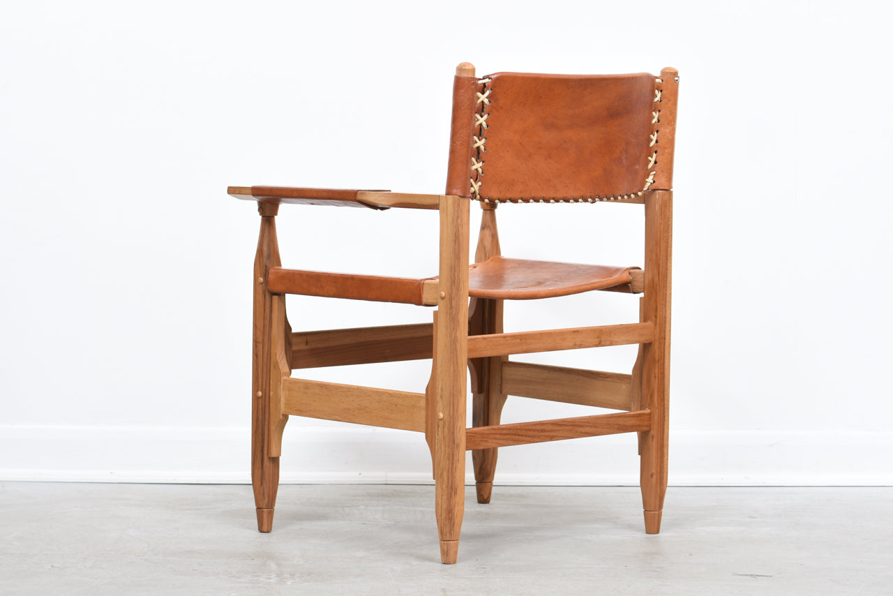 1960s pine + saddle leather armchair