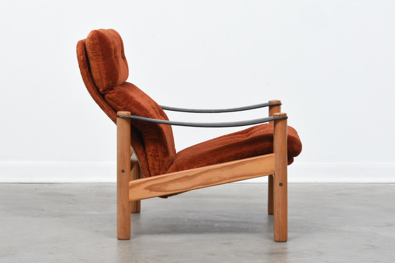 Two available: 1970s reclining loungers with pine frames