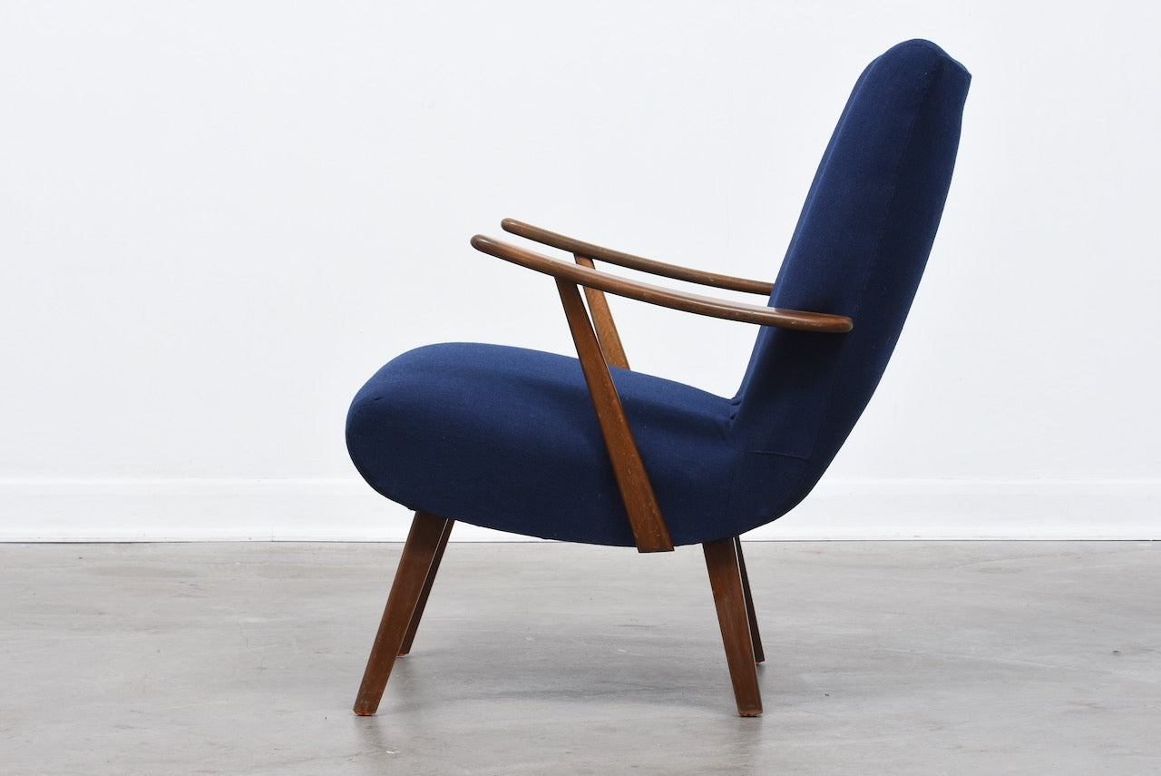 1950s Danish lounge chair with new upholstery
