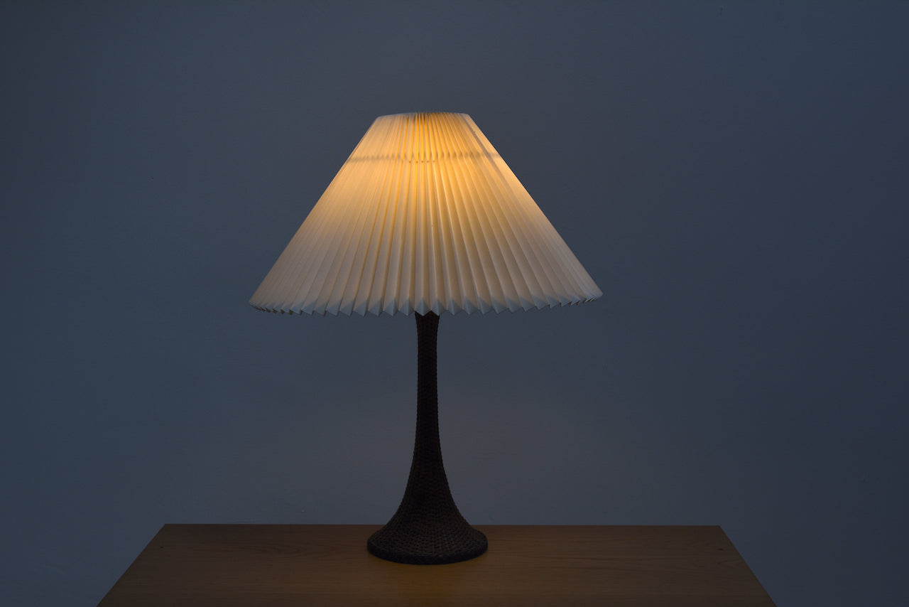 Vintage braided table lamp with Le Klint shade