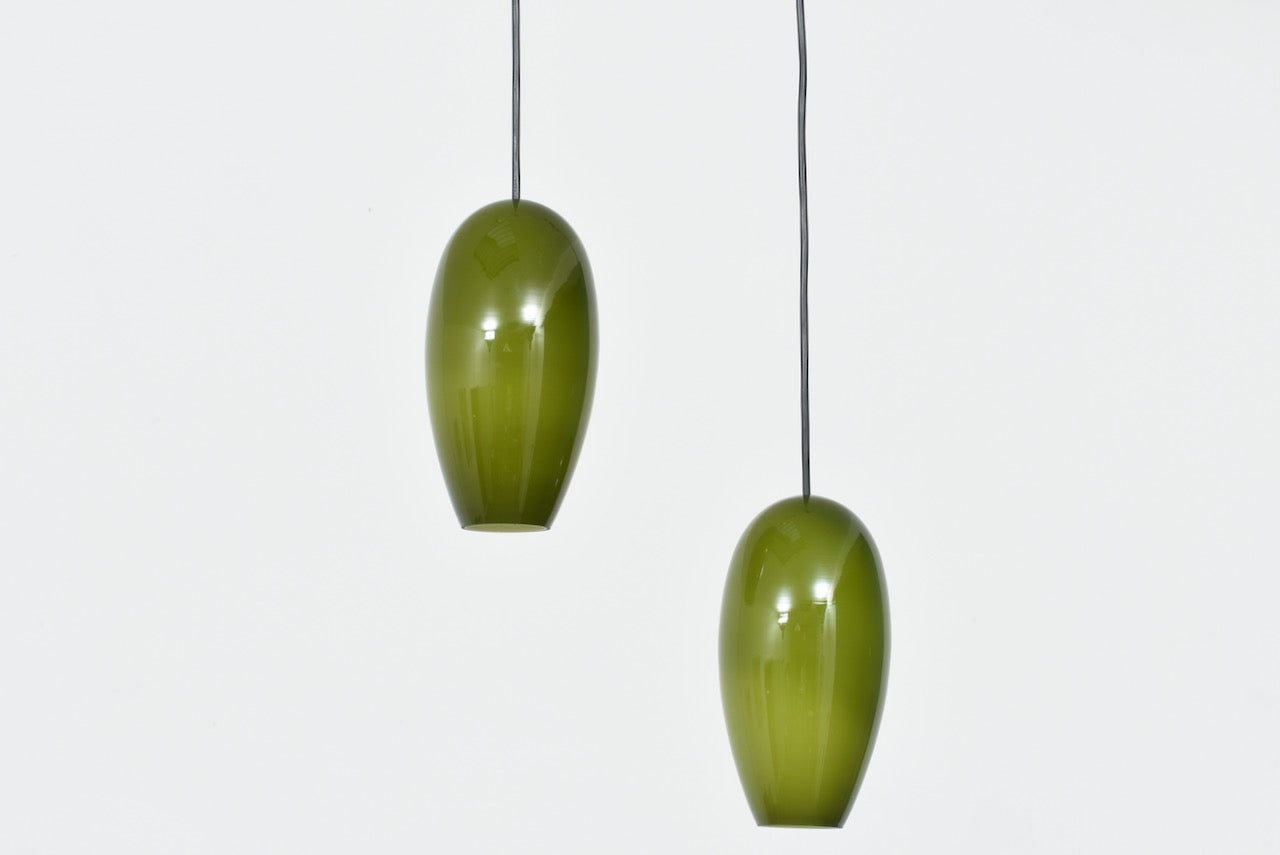 Two available: 'Life' glass ceiling pendants by Jo Hammerborg