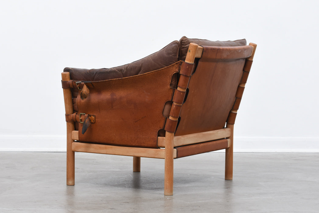 1960s oak + leather lounge chair by Arne Norell