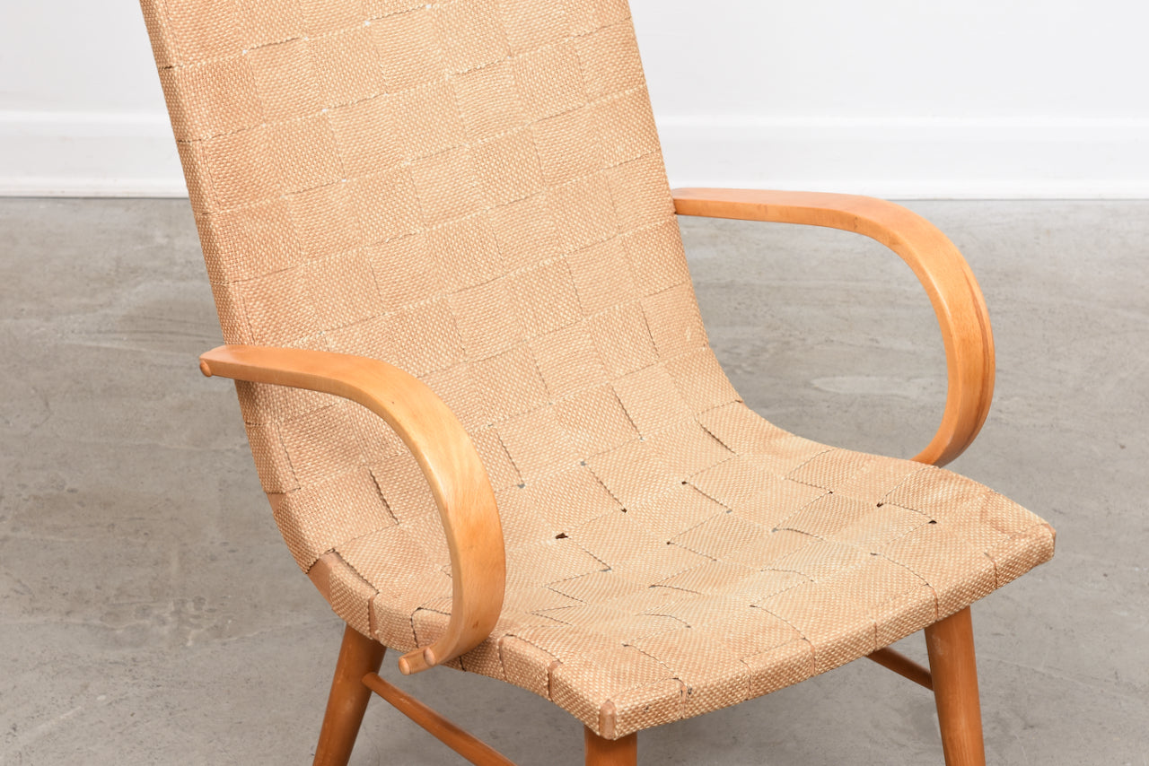 1940s Swedish beech lounger