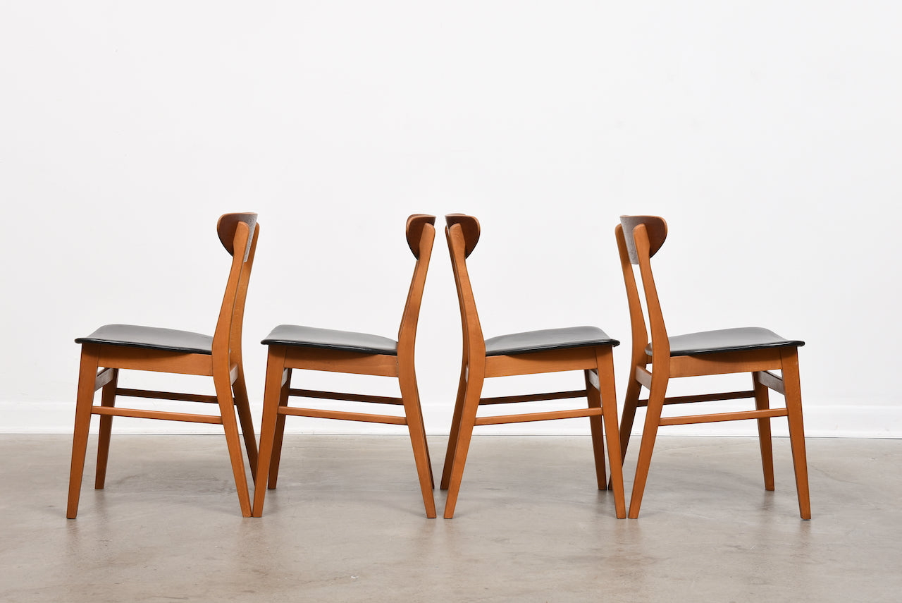 Set of four teak + beech dining chairs by Farstrup