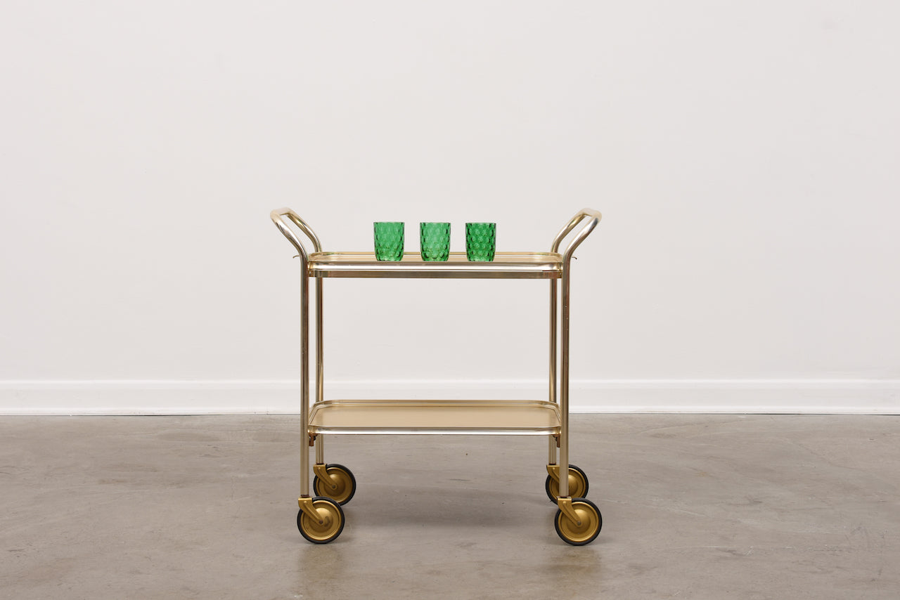 1960s brass drinks trolley