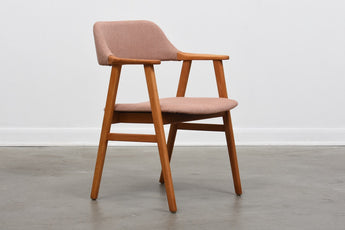 1960s Swedish beech armchair with new upholstery