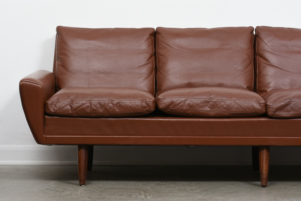 1960s four seat leather sofa by G. Thams