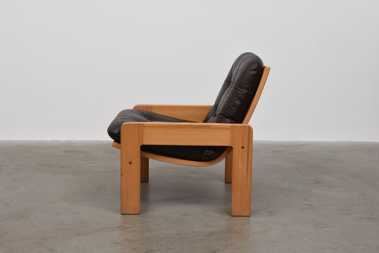 1970s pine + leather lounger by Yngve Ekström