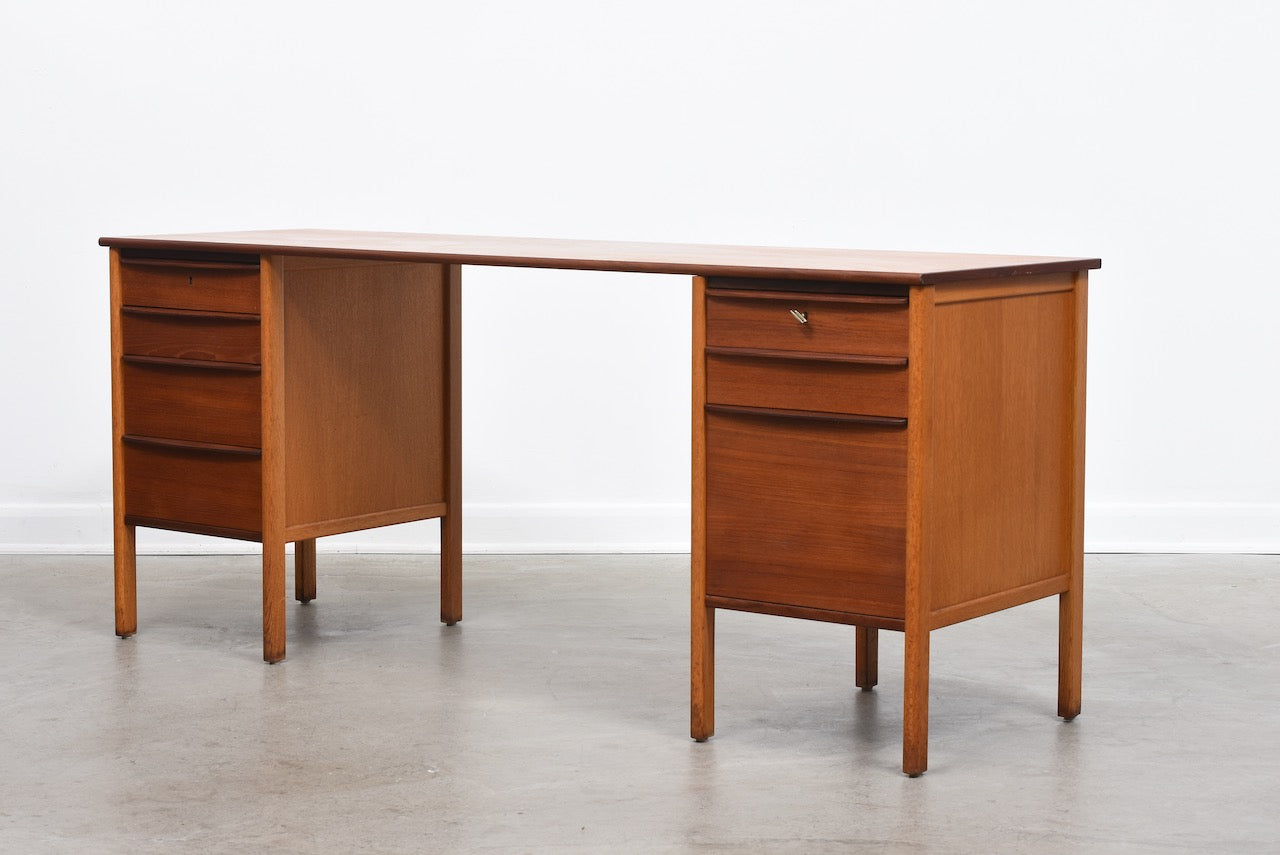 1960s twin pedestal desk in teak + oak