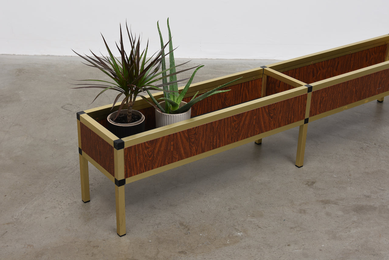 1970s planter in brass and rosewood