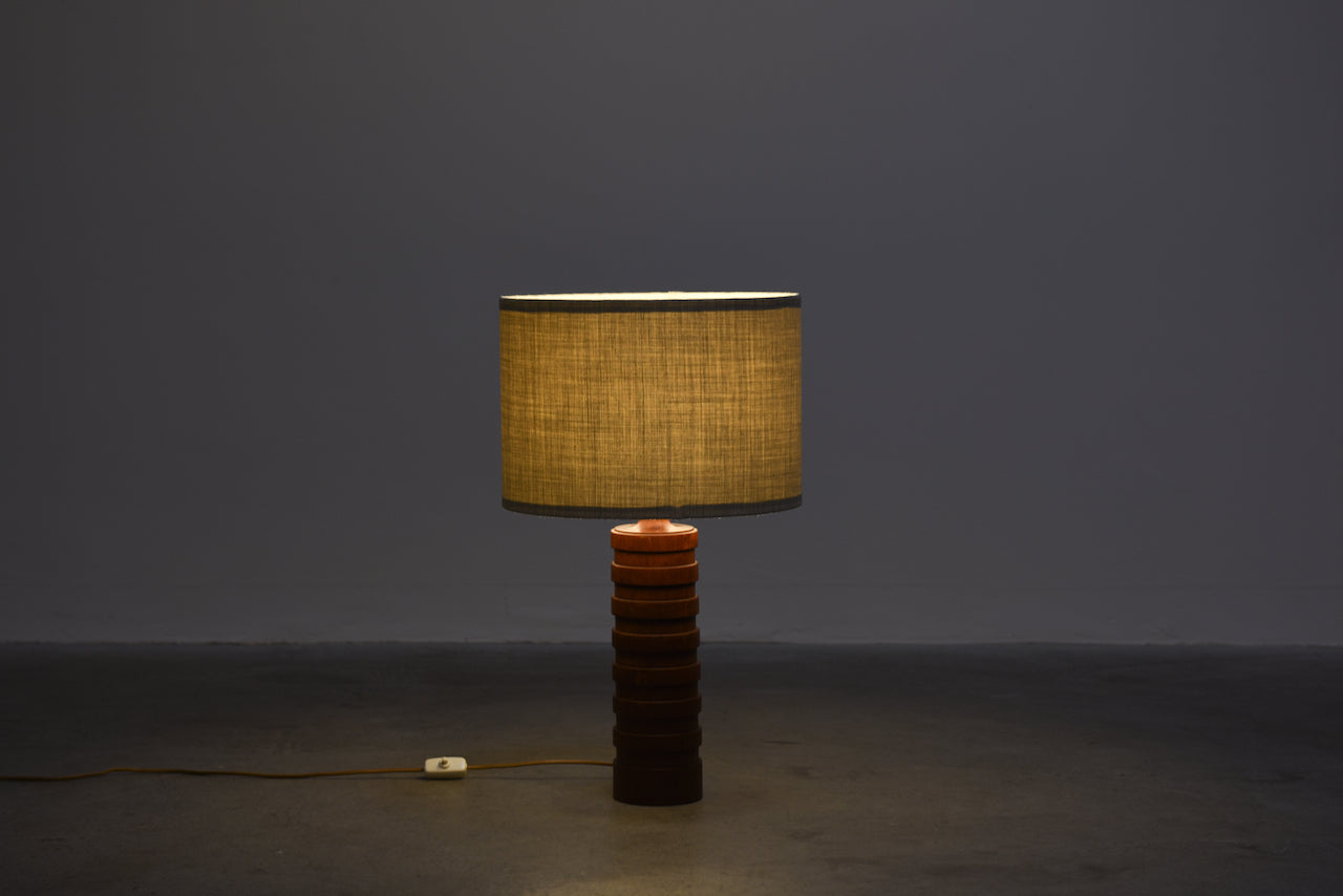 1960s turned teak table lamp