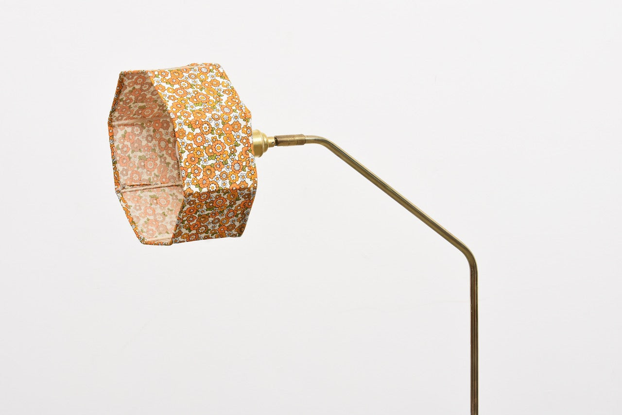 1960s brass floor lamp + shade