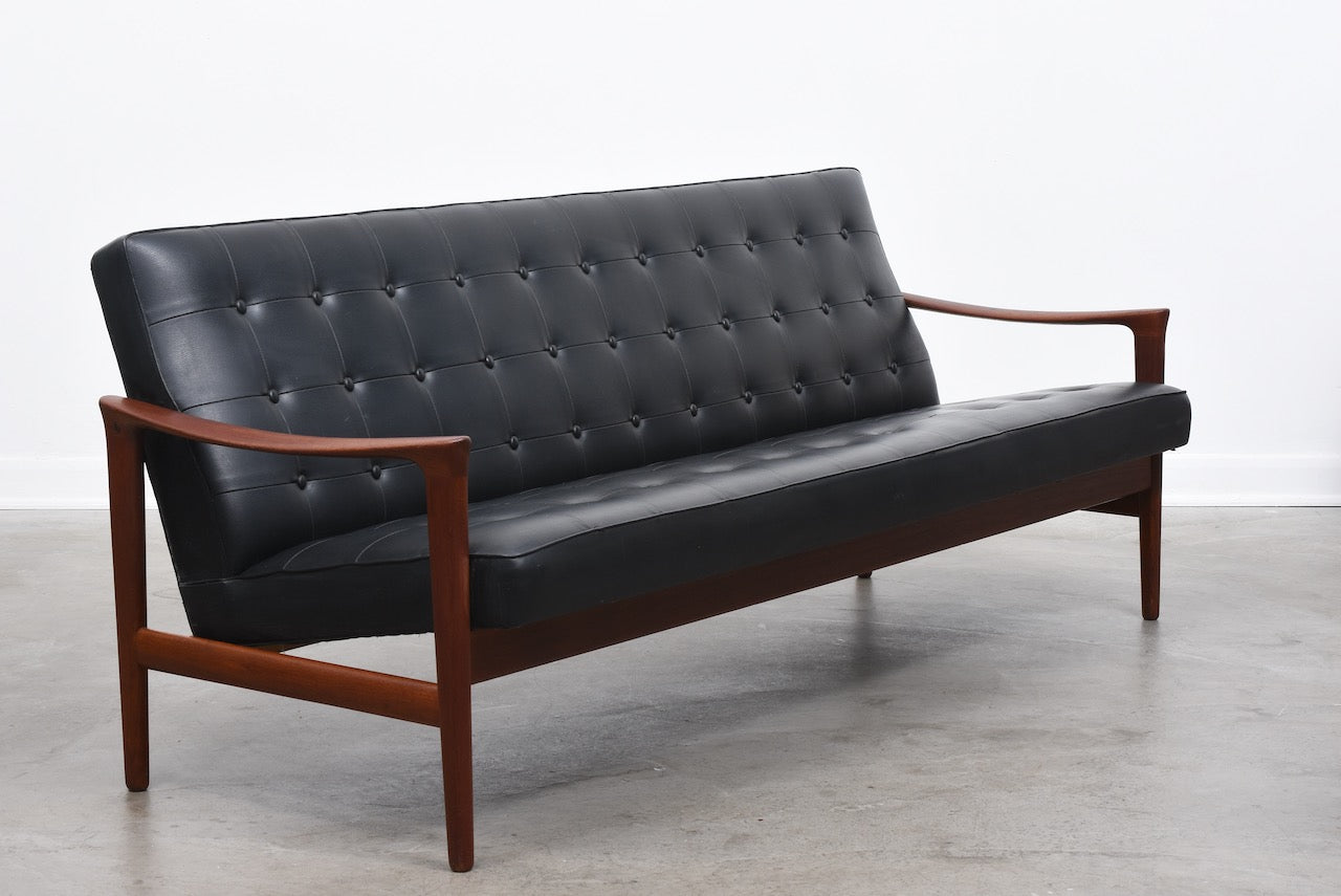 1950s Swedish three seat teak sofa