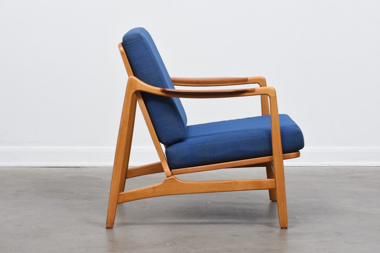 Includes new upholstery: Teak and beech lounge chair by Tove & Edvard Kindt-Larsen