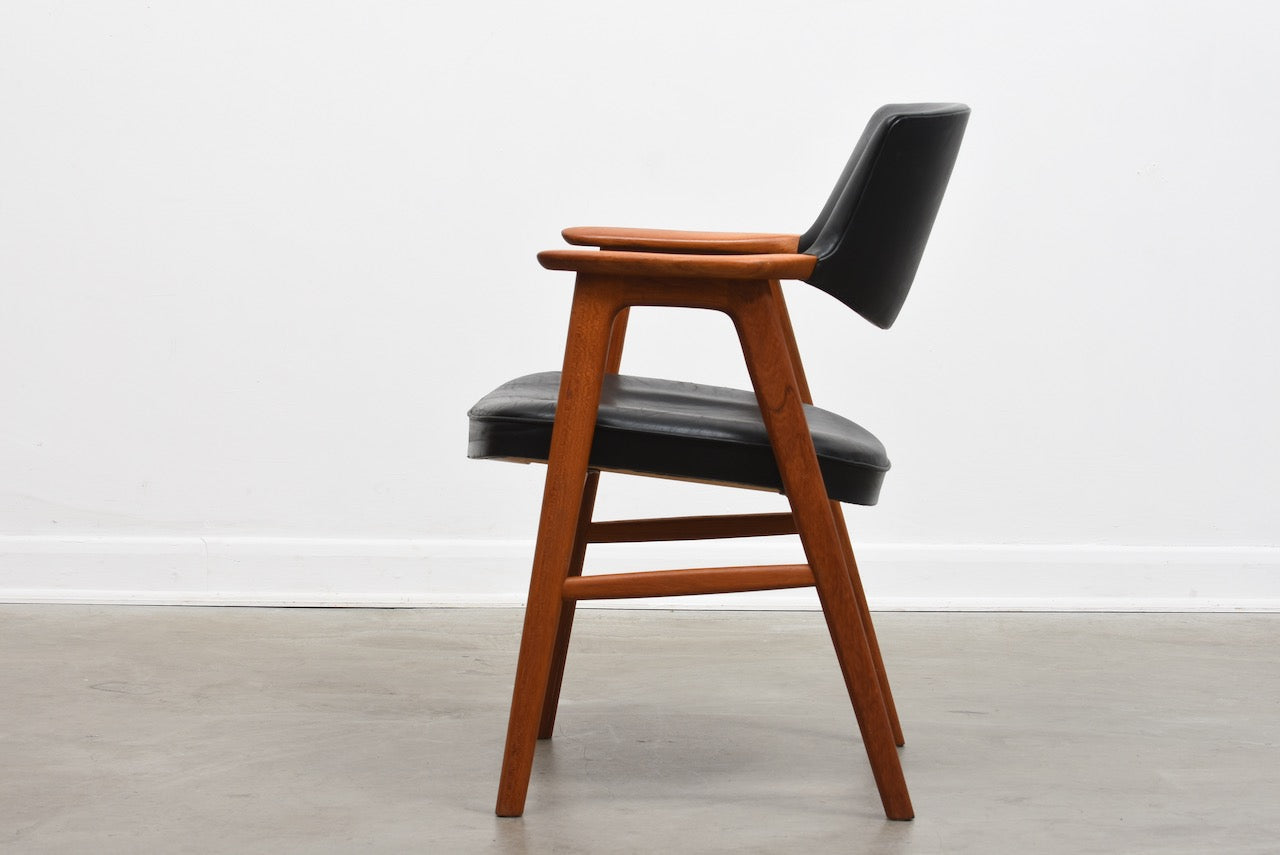 1960s teak + leather armchair by Erik Kirkegaard