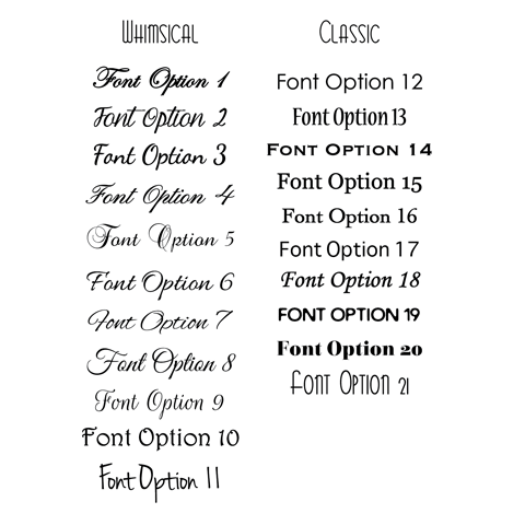 font options for personalization on custom wedding welcome bags