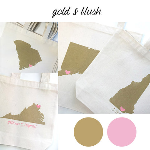 blush and gold wedding welcome gift bags