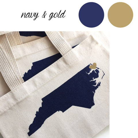 navy and gold wedding gift bags