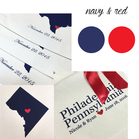 navy an red hotel welcome bags