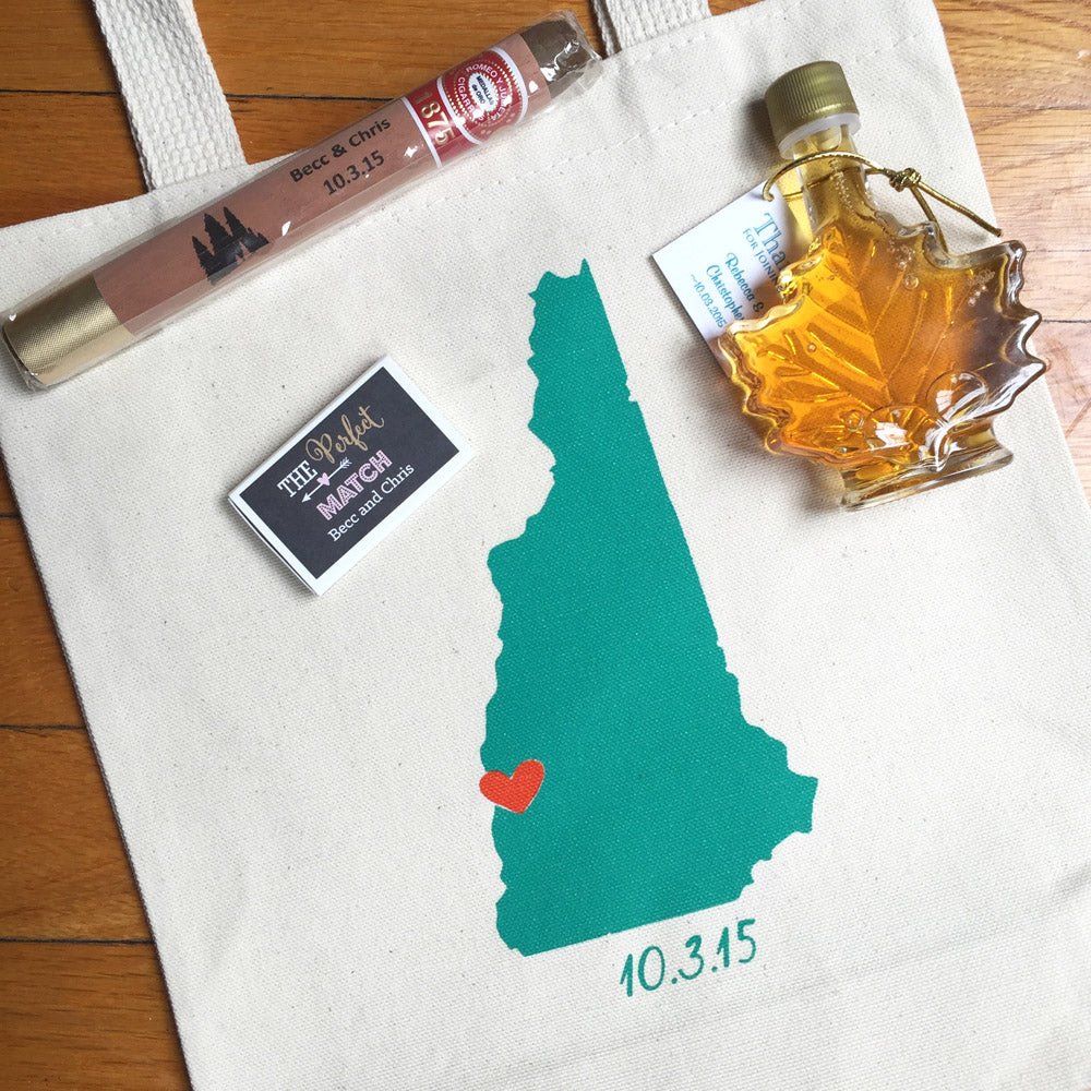 new hampshire wedding welcome totes