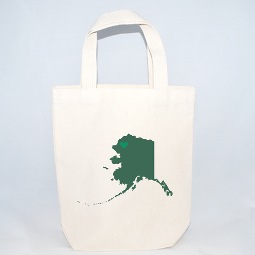 Alaska screen printed tote bags.
