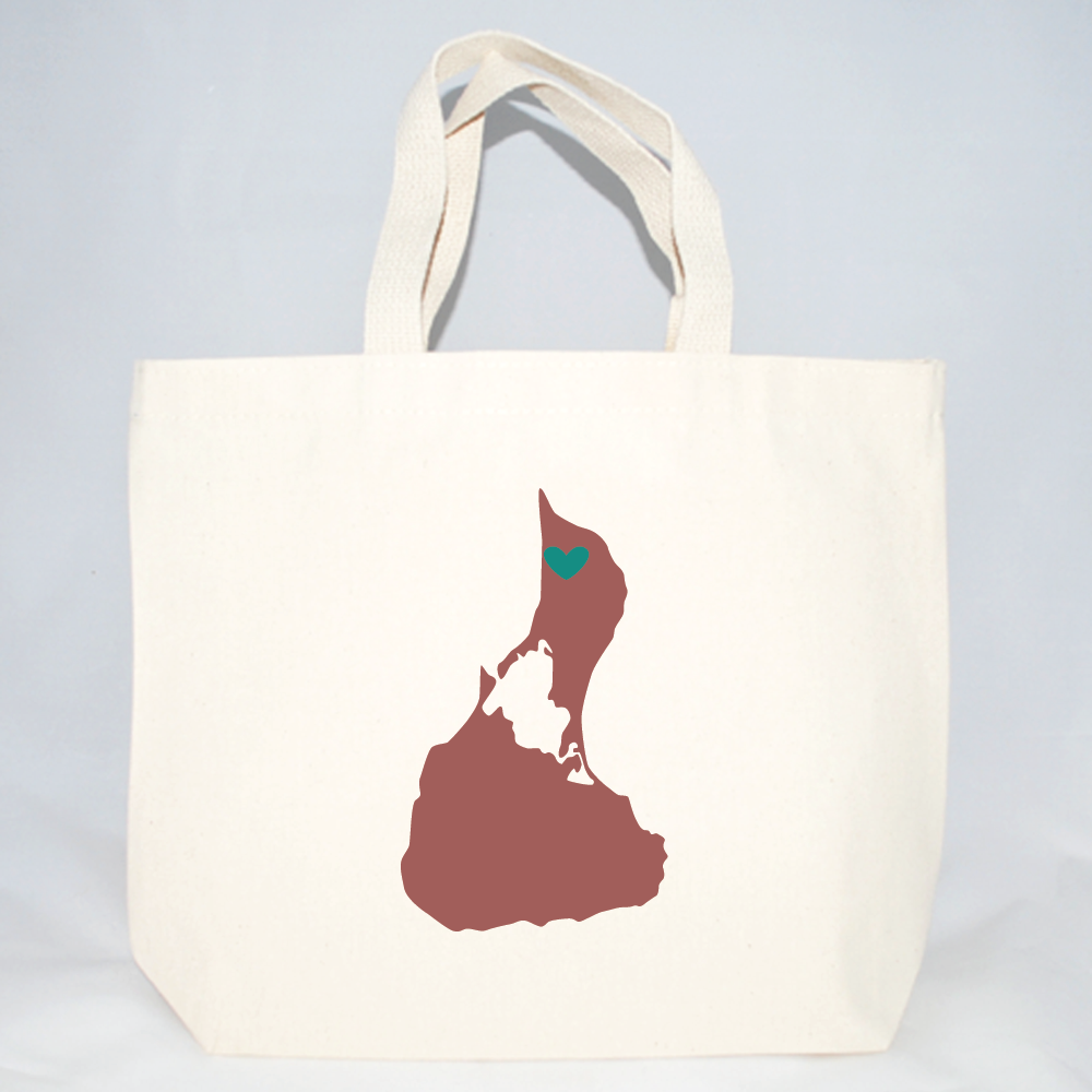 Medium tote bags with Block Island and heart for wedding welcomes