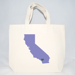 California medium tote bags for wedding guest gifts.