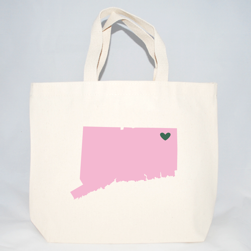 Connecticut screen printed on a cotton canvas tote bag.