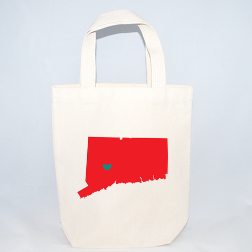 Connecticut screen printed on a cotton canvas tote bag with customizable heart.