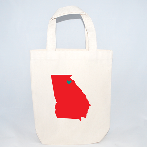 Small Georgia cotton canvas tote bags for wedding guests