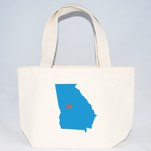 Extra Small tote bags screen printed with Georgia silhouette
