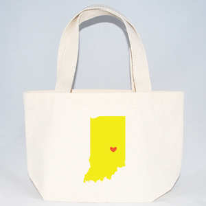 Screen printed high quality Indiana wedding welcome tote bags.