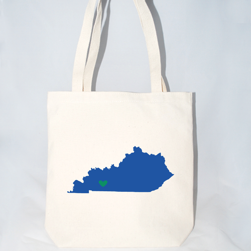 Kentucky state silhouette screen printed on cotton canvas totes.