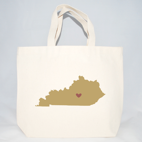 Kentucky totes with state silhouette screen printed for wedding guests.