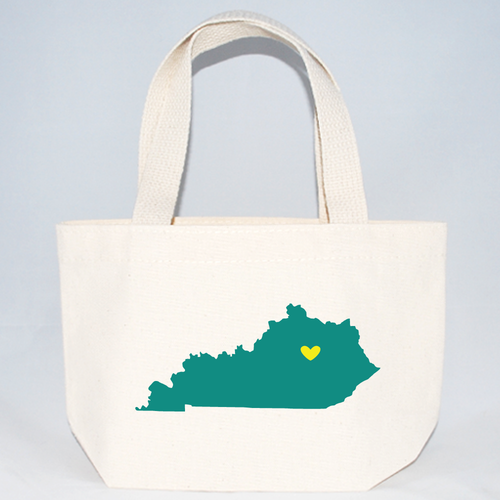 Wedding welcome totes of Kentucky with heart over location.