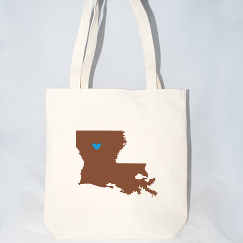 Canvas tote bags for party favors, bachelorette parties Louisiana large