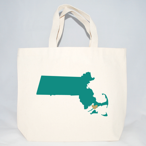 Massachusetts cotton canvas medium tote bags