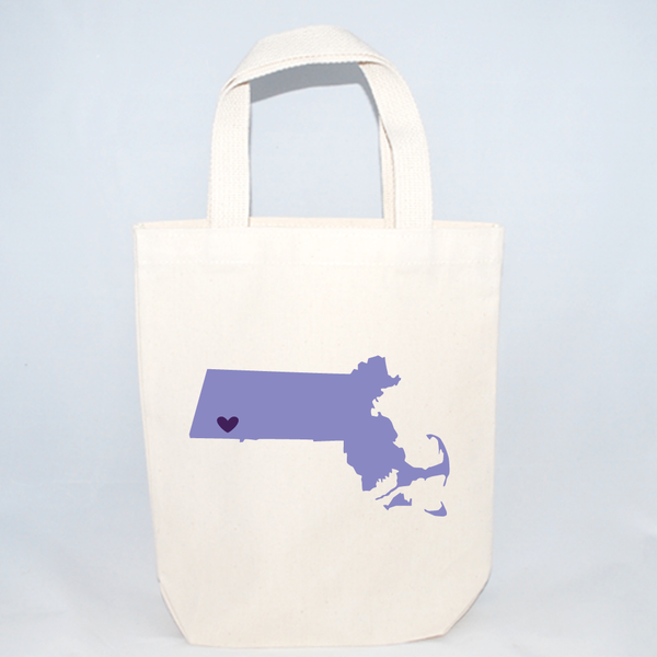 Customizable Massachusetts tote bags