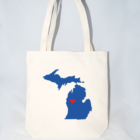 Michigan silhouette state inspired totes for weddings