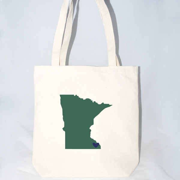 large tote bags with Minnesota state screen print