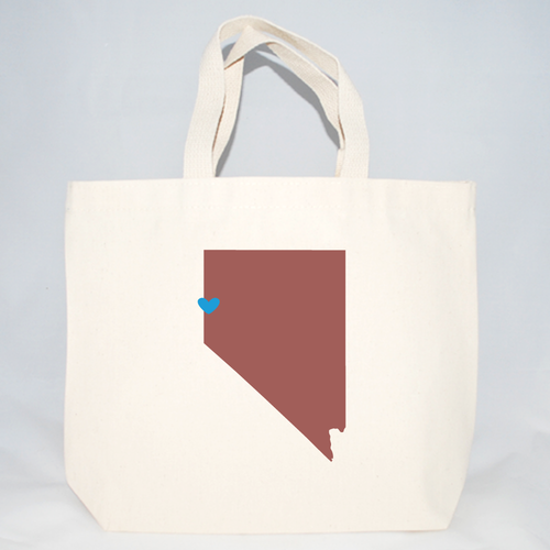 Nevada and customizable hear cotton canvas tote bags