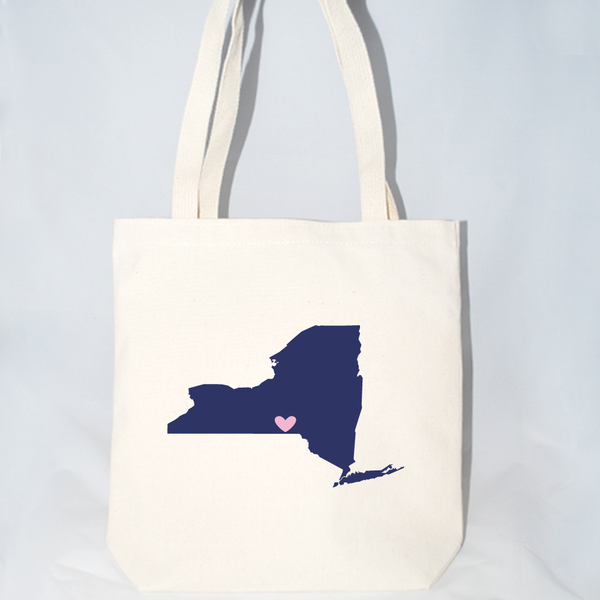 New York tote with customizable heart location size large.