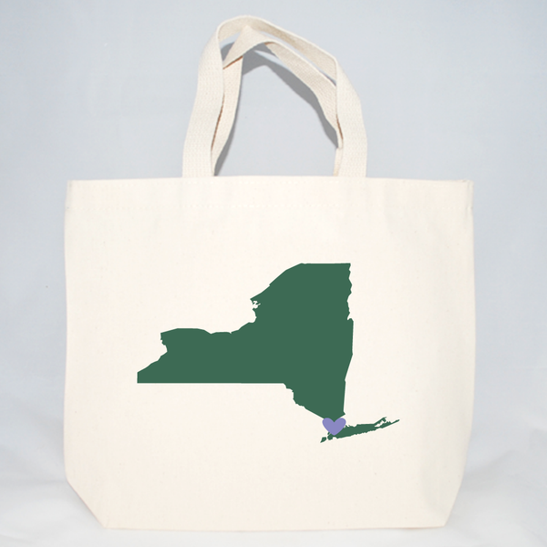 Medium New York tote bags with customizable heart location