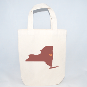 Small wedding welcome tote bags with New York state silhouette
