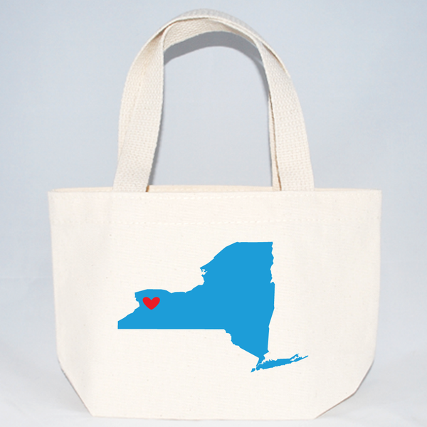 Custom New York state tote bags for weddings, events, family reunions, and more size extra small